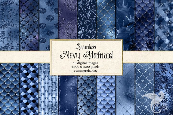 Navy Blue Mermaid Digital Paper