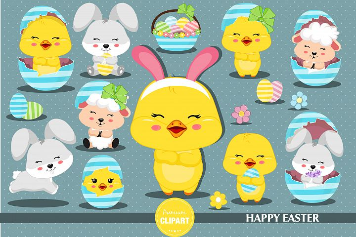 Easter animals illustrations, Easter graphics