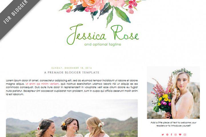 Premade Blogger Template - Mobile Responsive - Watercolor Design Blog - Jessica Rose Theme