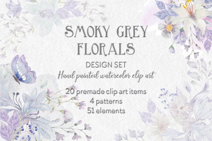 Watercolor design set in smoky grey florals