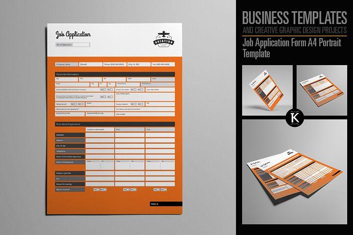 Job Application Form A4 Portrait Template