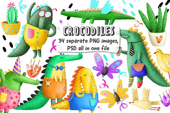 Set of cute Crocodiles
