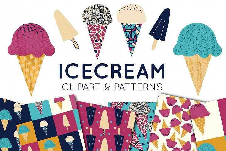 IceCream Clipart and Seamless Paper