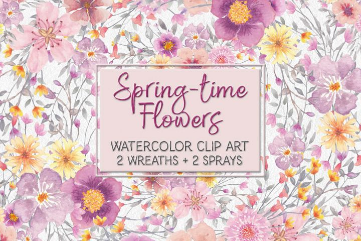 Spring flower watercolor clip art: wreath and sprays