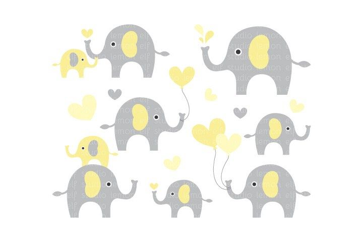 Cute Elephants-Digital Clipart (LES.CL10C)