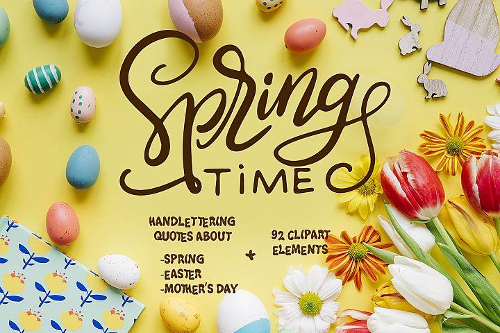 Spring Kit - lettering+clipart