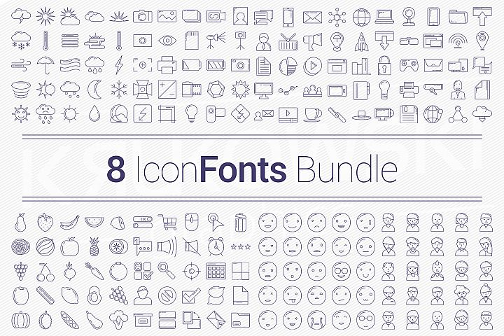 200 Icons in 8 Fonts - Bundle