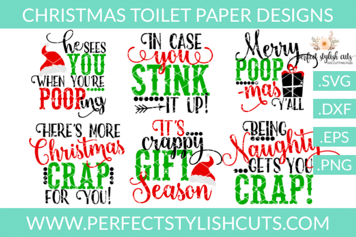 Christmas Toilet Paper Designs - SVG, EPS, DXF, PNG Files For Cutting Machines