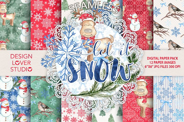 Watercolor Let it snow digital paper pack