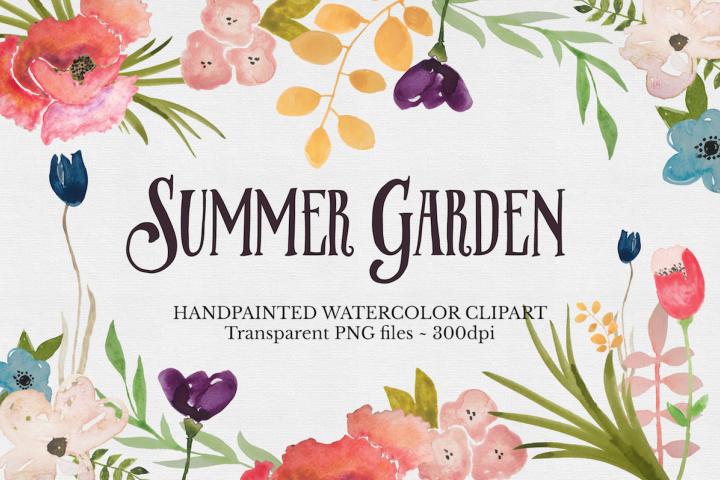 Watercolor Flower Clipart Set