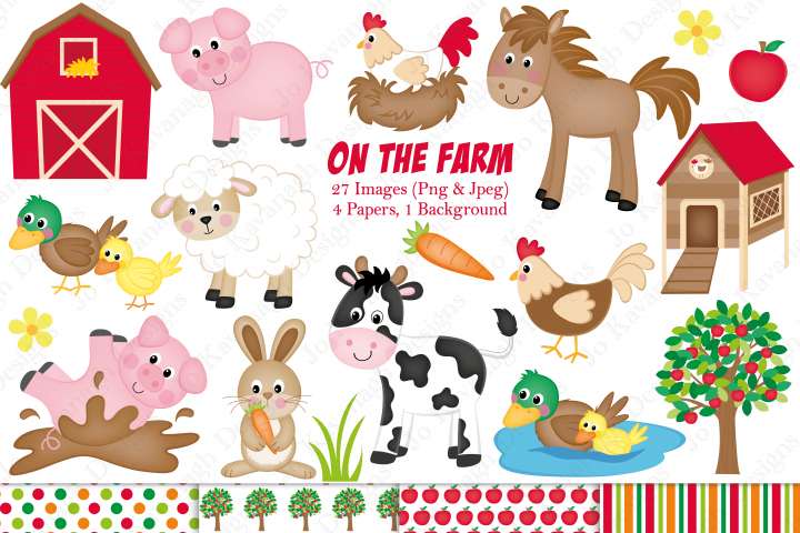 Farm graphics, Farm animals graphics & illustrations, Farm animals clipart, Farm clipart, Farm digital paper