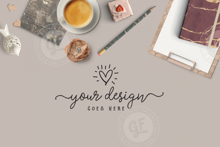Feminine Mockup - Burgundy Styled Desktop Scene