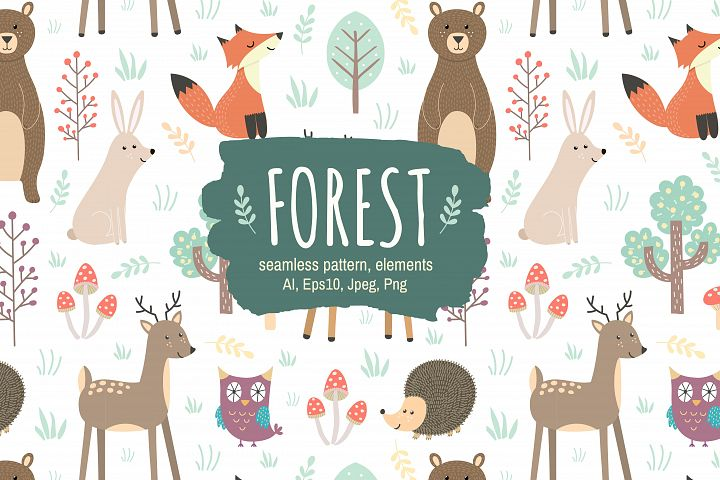 Forest: seamless pattern & elements