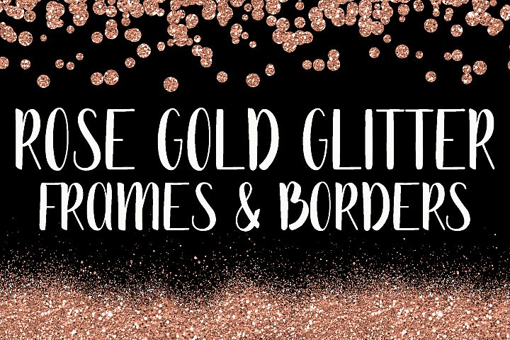 Rose Gold Glitter Frames and Borders PNG Clipart Bundle - Includes 64 squares, circles, borders and more!