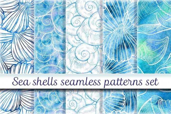 Sea shells seamless patterns set