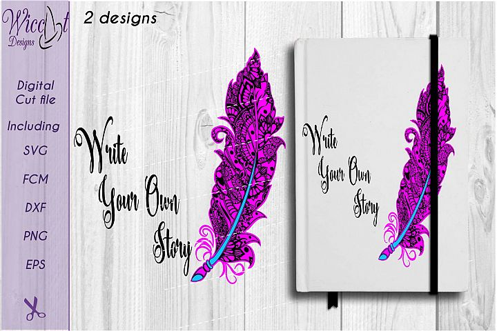 Doodle feather svg, feather svg, zentangle feather, cut file