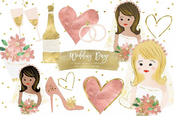 Wedding Clip Art, Bride Bouquet Cake Glitter Graphics, Wedding Planner Stickers, Wedding Invitation Digital Cliparts, Rose Gold clip art