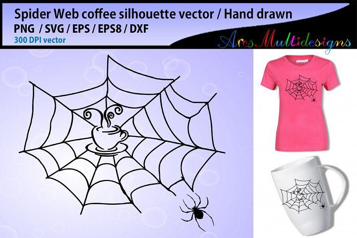 Spider web coffee svg silhouette / spider web silhouette / coffee silhouette / hand drawn