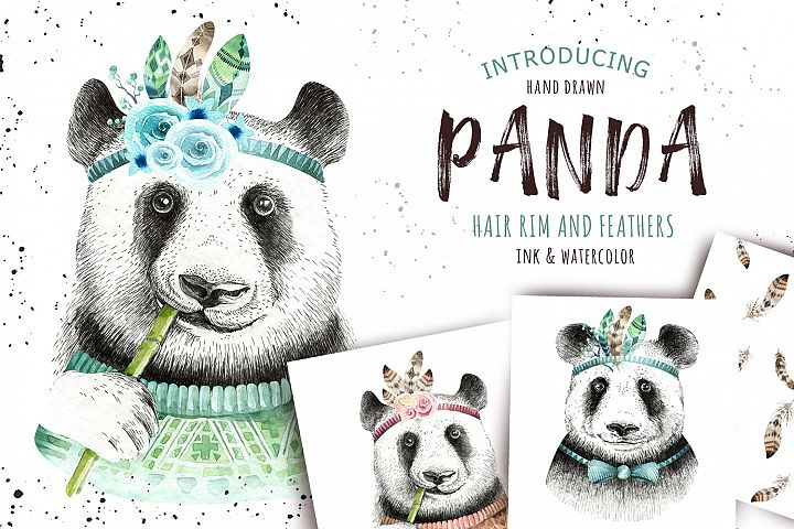 Watercolor panda illustration. Bohemian cute animals.