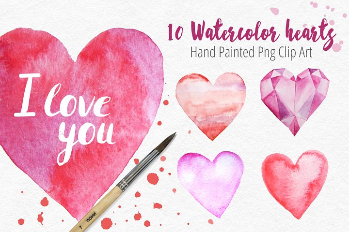 10 Watercolor Hearts Clip Art