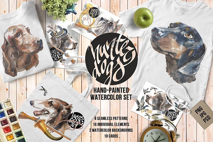 Hunter dogs Watercolor Set