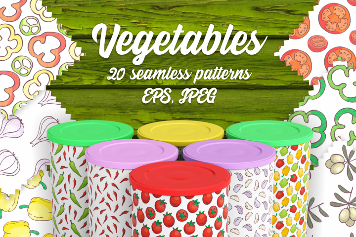 Vegetables. Seamless patterns in doodle style.