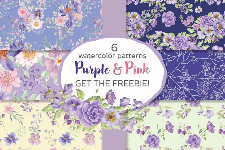 Set of 6 watercolor papers in purple and pink flowers
