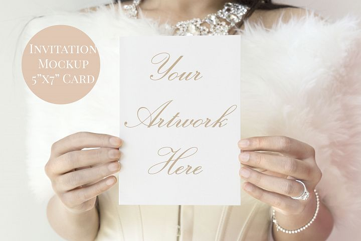 Bride white 5x7 card invitation mockup