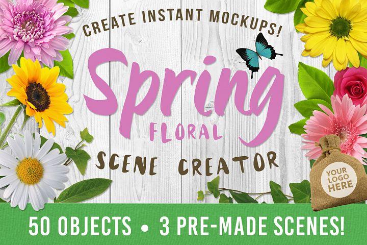 Spring Floral Mockup Scene Creator