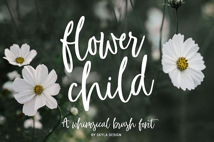 Whimsical modern brush font, Flower Child