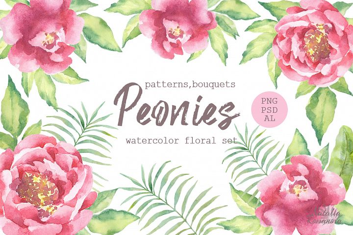 Watercolor Peonies set - Free Design of The Week