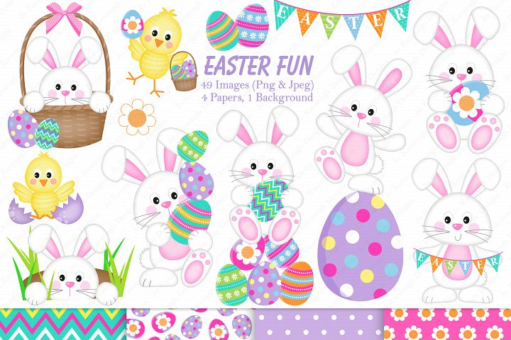 Easter graphics, Easter Bunnies graphics & illustrations, Easter chicks graphics & illustrations, Easter clipart, Easter digital paper