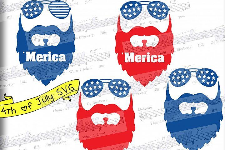Beard svg - Merica svg - Glasses svg - Patriotic svg - American svg - 4 in 1 - Svg - Dxf - Eps - Png - Jpg - Pdf