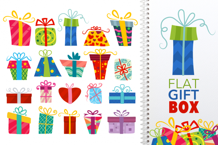 Flat Gift Box Set - Vector