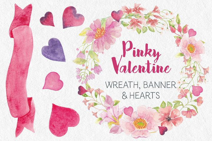 Valentines Day wreath in pink watercolor flowers
