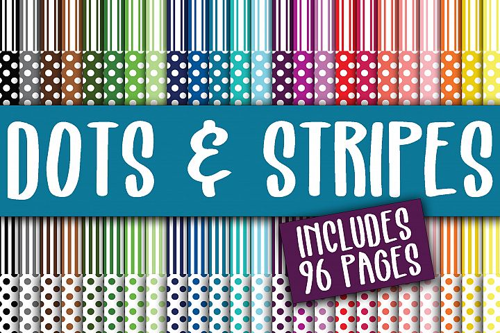 Dots and Stripes Digital Paper Bundle