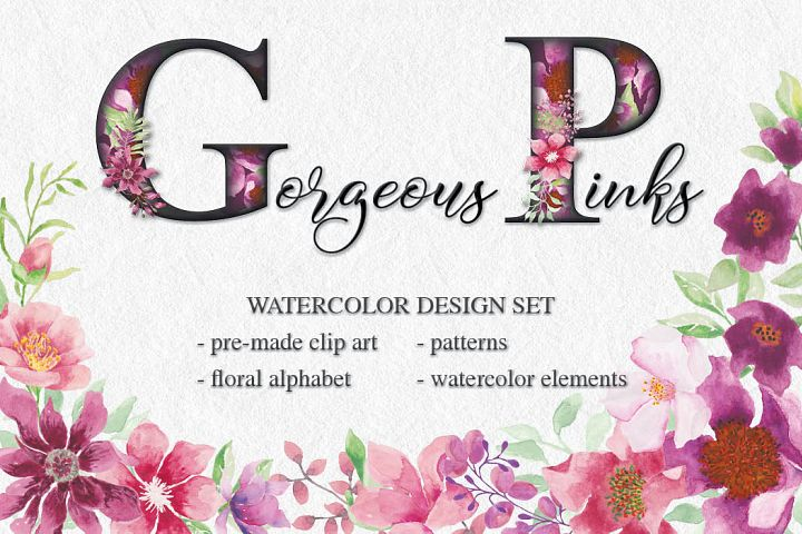 Gorgeous Pinks: watercolor design set