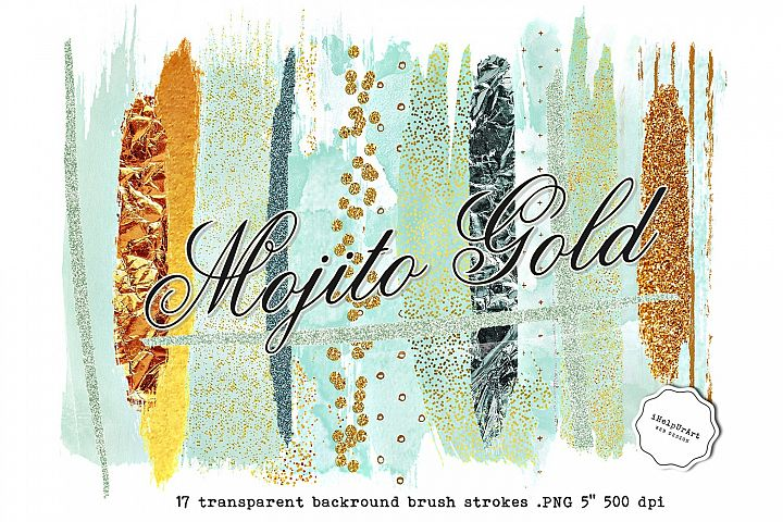 Mint and Gold Brush Strokes