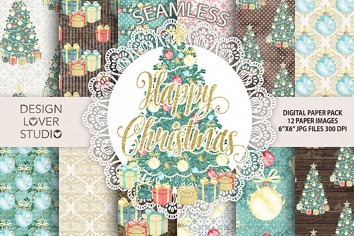 Watercolor Happy Christmas 2 hand painted digital papers