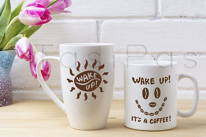 White coffee and cappuccino mug mockup with magenta tulip