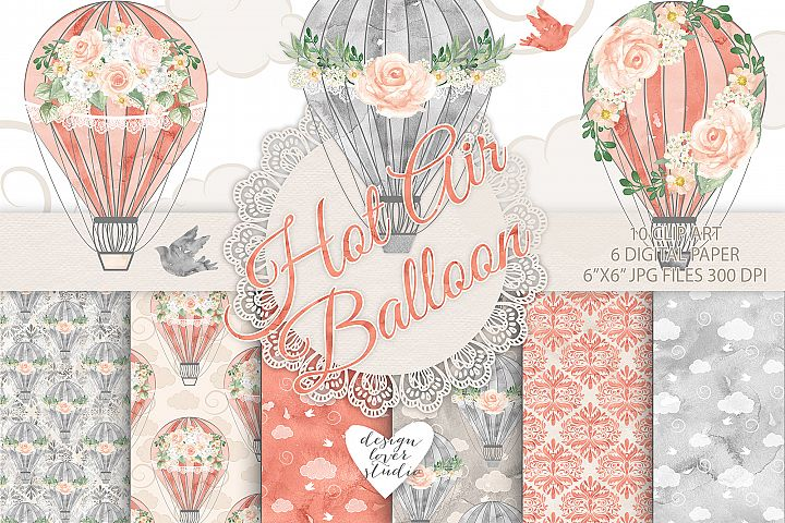 Watercolor Hot Air balloon flowers pack