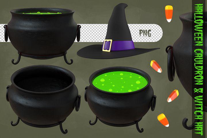 Halloween Cauldron & Witch Hat