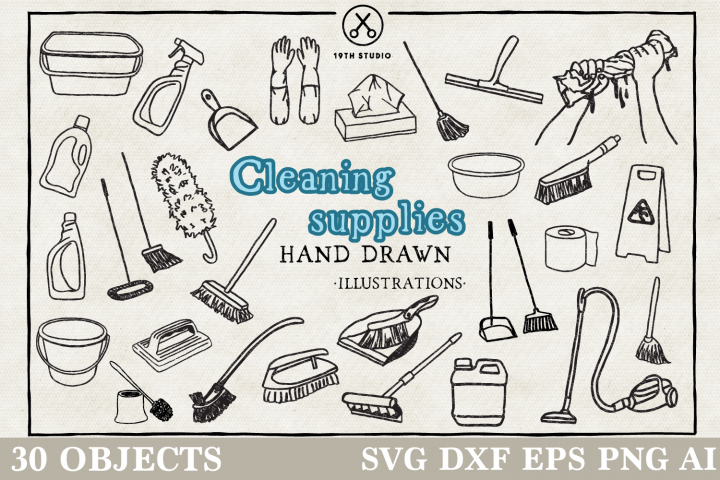 Cleaning Supplies Illustration Pack - SVG DXF EPS PNG
