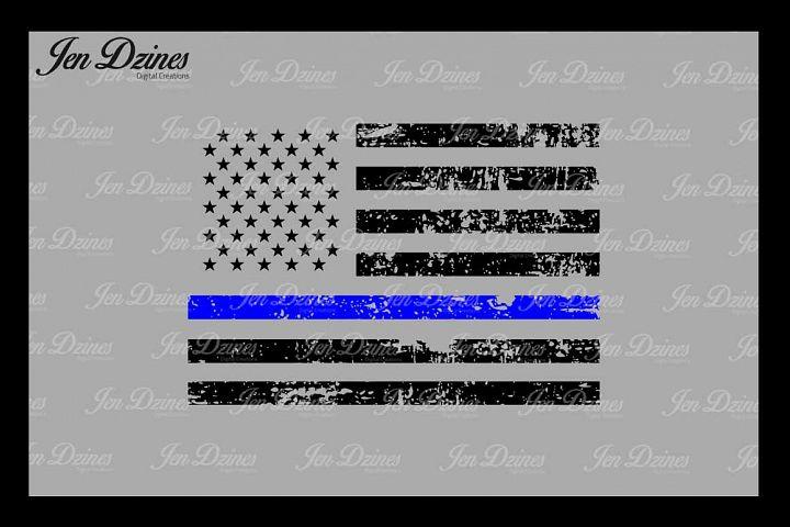 Blue Line Distressed Flag SVG DXF EPS PNG