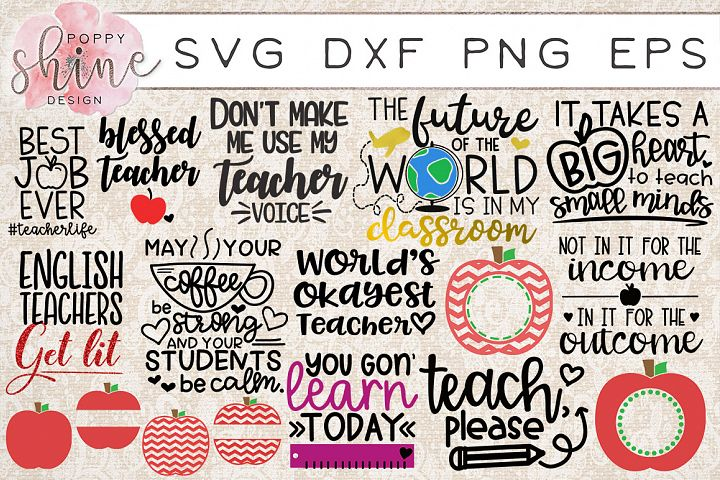Teachin Bundle of 17 SVG PNG EPS DXF Cutting Files