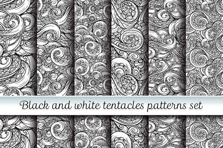 Black and white tentacles patterns set