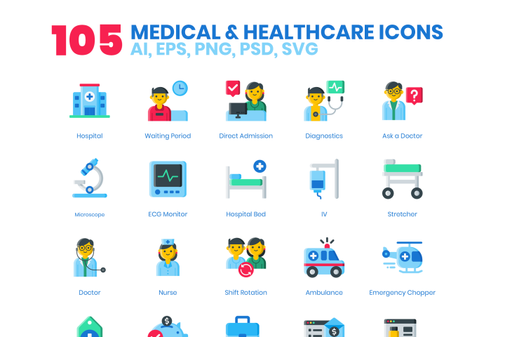 105 Medical Healthcare Icons