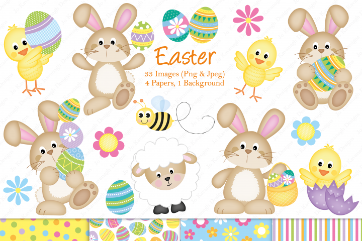 Easter graphics, Easter Bunnies graphics & illustrations, Easter chick graphics & illustrations, Easter clipart, Flowers, Easter digital paper