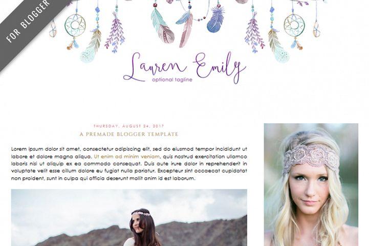 Premade Blogger Template - Mobile Responsive - Watercolor Design Blog - Lauren Emily Theme