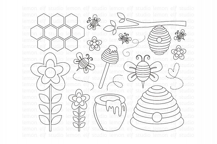 Sweet Honey Bees-Digital Stamp (LES.DS54)